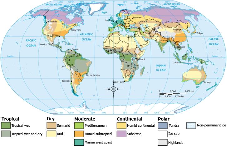 Карта - климатические области мира